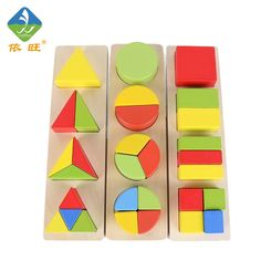 57.52$  Buy now - http://aliea5.worldwells.pw/go.php?t=32763568216 - Toy Woo Montessori Teaching Aids Wooden 3 In One Colorful Early Interaction Intelligence Education 1~3 Years Old Children