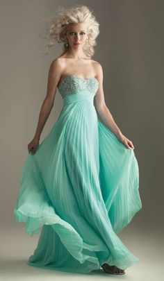Night Moves Heavenly Aqua Pleated Empire Waist Dress