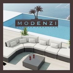 Modenzi Modern Patio Rattan Wicker Set Outdoor Sectional Sofa Furniture Chair for sale online