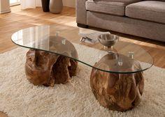 Couchtisch Mit Gestell Aus Teak Massivholz Mit Glasplatte Unikat 21213. Buy  Now At Https: