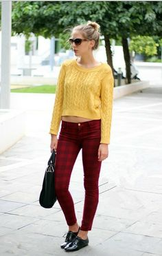 ninth red and black check Tartan tight pants