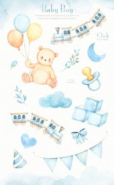 The set of high quality hand painted watercolor baby boy elements and floral images. Toy trains and teddy bear are also included in this set. Clipart Baby, Bear Clipart, Nursery Decor Boy, Nursery Art, Moon Nursery, Baby Posters, Baby Illustration, Texture Images, Baby Clip Art