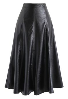 Faux Leather A-Line Midi Skirt in Black – Retro, Indie and Unique Fashion - Christmas Deesserts Leather A Line Skirt, Faux Leather Skirt, Cute Skirts, A Line Skirts, Unique Fashion, Full Midi Skirt, Chunky Cardigan, Faux Leather Fabric, Vintage Skirt