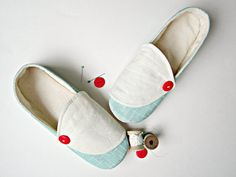 Women's Slippers in Aqua and Cream with Canvas Soles by Molipop Best Slippers, Women's Slippers, Shoe Story, Red Button, Cotton Fleece, Long Toes, Cotton Canvas, My Design, Aqua