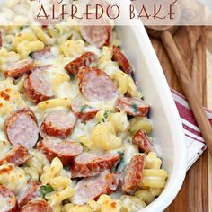 Spicy Smoked Sausage Alfredo Bake Recipe This easy pasta recipe is ready in less than 30 minutes Easy Pasta Recipes, Pork Recipes, Dinner Recipes, Easy Meals, Cooking Recipes, Chicken Recipes, Healthy Recipes, Spicy Food Recipes, Gastronomia