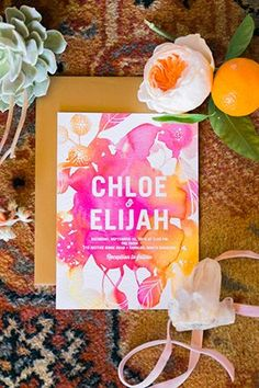 Vibrant watercolor wedding invitation | Photo by Studio 13 Designs