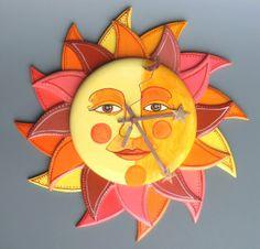 Just luv this clock.So nice and bright. Unique Clocks, Cool Clocks, Handmade Clocks, Tropical Clocks, Clocks Inspiration, Good Day Sunshine, Sun Moon Stars, Clock Art, Sun Art