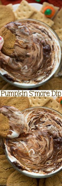Pumpkin S'mores Dip has pumpkin pie, chocolate ganache, and marshmallow all in one warm dip!