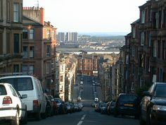 Steep streets of Glasgow..
