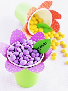 Flower cups with M&M's...