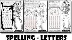 Spelling And Pencil Practice Monster High Activity Coloring Pages