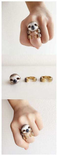 This super cute Sloth comes as a 3 piece Ringset and is the perfect handmade gift for Christmas but not only Sloths can be found in the shop. Cute Jewelry, Bridal Jewelry, Jewelry Accessories, Jewelry Design, Women's Jewelry, Jewellery Uk, Jewelry Ideas, Fashion Jewelry, Baby Sloth