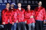 Backstreet Boys at Press Conference at Bvlgari Store announcing the first tour dates of the 20th anniversary of the band at end of May in Asia - 01.18.2013 China - (Imaginechina - Chinese Photo Agency) [Members of Backstreet Boys pose for a group photo wearing red Tang jackets during the Backstreet Boys 20th Anniversary Asia Tour China Concerts-International Press Conference in Beijing, China, 18 January 2013.]