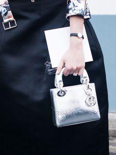 Metallic top-handle mini bag