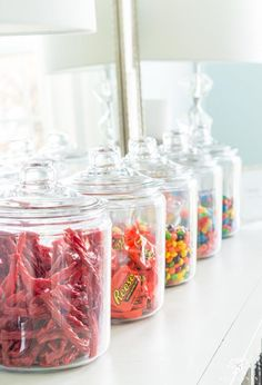 Candy land 1 gallon jars for dessert bar setup Kitchen Organization Pantry, Home Organisation, Organization Ideas, Kitchen Jars, Kitchen Pantry, Sweet Jars, The Home Edit, Bar Set Up, Pantry Design