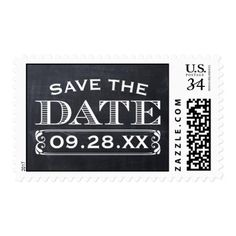 Typography Save the Date Wedding Invitation Chalkboard Rustic Vintage Save the Date Postage
