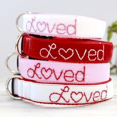 Our Loved Hand Embroidered Dog Collar is made with TONS of LOVE just for your pet! Each is made one by one by local artisans and no two are alike! Embroidered Dog Collars, Valentine Day Gifts, Valentines, Cute Dog Collars, Hacks, Types Of Collars, Animal Jewelry, Dog Supplies, Paracord