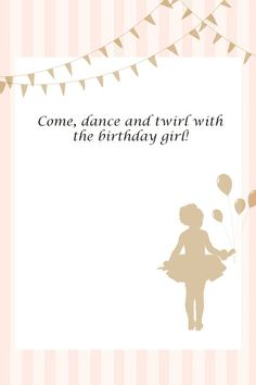 Free printable invitation - ballerina party For Fiona's birthday. Dance Party Birthday, Ballerina Birthday Parties, Ballerina Party, 4th Birthday Parties, Birthday Party Invitations, Girl Birthday, Tutu Invitations, Birthday Ideas, Free Birthday