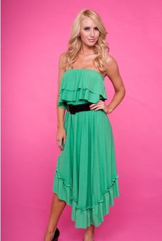 KELLY GREEN STRAPLESS RUFFLE MAXI DRESS - only $15.99
