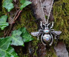Crystal bee necklace bumblebee  Swarovski by HerissonRose on Etsy