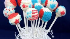 Use Styrofoam tucked into a basket as a base, and these patriotic treats can double as a colorful centerpiece at your Independence Day celebration.