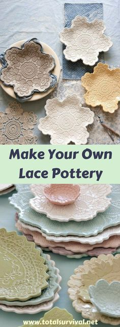 DIY DIY Ideas home Household Tips:Make Your Own Lace Pottery.These pieces will then be used as plates or decor items and have the most delicate pastel colors. #lace #pottery #diy #diyproject #home #household