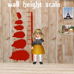 【Objects】 wall height scale Hedgehog Find > Painting and Posters or KIds > toy