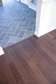 herringbone tile and wood transition... also the colors I was looking to go