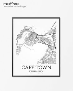 Cape Town Map Art Print Cape Town Poster Map of by PeachandPaper