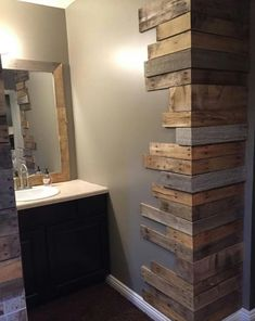 Here you are currently viewing the result of 10 DIY Pallet Furniture Ideas. You can be see here the ideas of 10 DIY Pallet Furniture. 10 DIY Pallet Furniture Ideas are so interesting. You can be use the DIY Pallet Furniture Ideas in creating somethin Wooden Pallet Beds, Wooden Pallet Projects, Bed Pallets, Pallet Walls, Pallet Wall Bathroom, Bathroom Ideas, Diy Wood Wall, Rustic Pallet Ideas, Wooden Accent Wall