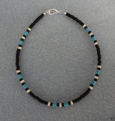 anklet jewelry Blue-Turquoise-Black-Anklet-Ankle-Bracelet-Native-Made Silver Anklets, Beaded Anklets, Anklet Jewelry, Beaded Choker, Body Jewelry, Beaded Jewelry, Beaded Bracelets, Embroidery Bracelets, Jewelry Necklaces