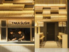 The design for Taka Sushi reinterprets the traditional structure of Japanese roofs by emphasising the design and organisation of custom modular timber crates to create an inviting and powerful shopfront.