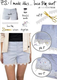 Lace trim short DIY - yes, please! Great way to refashion basic summer shorts. From PS I Made This. #sewing #refashioning