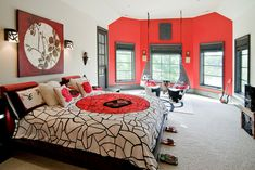 Awesome white walls with a red accent bay window