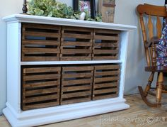 old bookshelf check, old crates check, robins egg blue paint check = beautifully repurposed furniture!