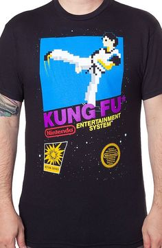 Cartridge Art Kung Fu T-Shirt This is an illustration of a 1985 Nintendo game cartridge, Kung Fu.  Relive your own gaming history with this popular design.