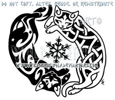 Yin Yang Cats And Snowflake Design by WildSpiritWolf.deviantart.com on @deviantART