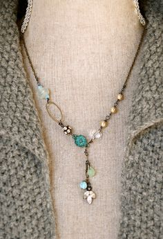 Collette.romantic,pearl.,semi precious stone,rhinestone drop necklace. Tiedupmemories