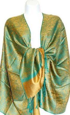 Teramasu Teal and Gold Pashmina Silk Shawl Teramasu. $39.95