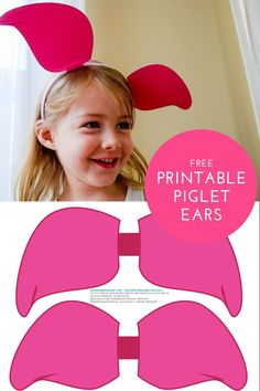 Piglet ears for headbands. See how to make DIY Piglet ear headbands for Piglet Halloween costumes, Winnie the Pooh birthday parties, and pretend play with this free template. Piglet Halloween Costume, Halloween Kostüm, Halloween Projects, Halloween Costumes For Kids, Family Halloween, Halloween Treats, Halloween Makeup, Winnie The Pooh Ears, Winnie The Pooh Costume