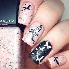 black and pink nail art designs 2016