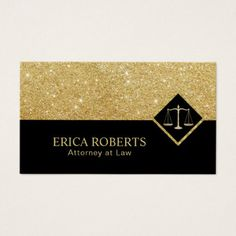 #glitter - #Lawyer Modern Black & Gold Glitter Attorney at Law Business Card