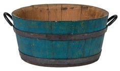 Willis Henry Shaker Auction 9/10/16 Lot 7. Estimate: $1,500 - 2,000. Realized: $4,080.  Desc:  Tub, Pine staves & bottom, original blue painted finish, iron hoops with V-shaped ends, tongue & groove joined staves, original offset iron handles in black paint attached to the heavy top hoop with 2 rivets, Canterbury or Enfield, NH, c. 1840-50, 7″ h, 13 1/2″ dia. Note: The rare blue color is usually indicative of the Ministry.