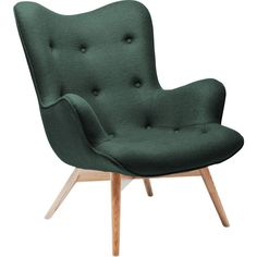Arm Chair Angels Wings Forest New Design - KARE Design #greenery #forest #green #armchair #chair #upholstered #darkgreen #retro #chesterfield #wool #wood #kare #karedesign