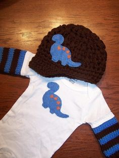 GIFT SET -- Brimmed Dinosaur Beanie and Matching Long-Sleeve Onesie