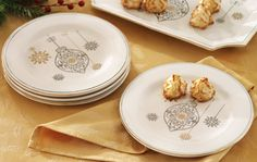 Elegant Holiday Snowflake & Ornament Dessert Plates Set/4 -- $17