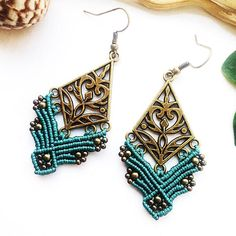 Aquamarine boho bronze macrame earrings. The size is 3 inch with earwire. Materials: aquamarine nylon macrame cord 0,8 mm, bronze beads 2mm and 3mm, bronze connector, nickel free earwire. ✔️the weight is light and comfortable for ears ✔️my own unique design ✔️macrame earrings will