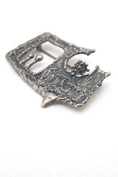 Guy Vidal, Canada - vintage brutalist pewter openwork 'urchin' brooch #brooch #Vidal