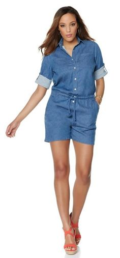 Take it up a notch in this denim romper by Wendy Williams! The cozy fit flatters almost every body type!