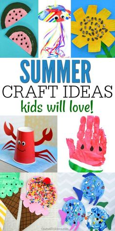 These fun summer crafts are sure to keep both toddlers and older kids happy all ., DIY and Crafts, These fun summer crafts are sure to keep both toddlers and older kids happy all summer long! There are so many great summer craft ideas to choose from. Summer Crafts For Toddlers, Summer Arts And Crafts, Easy Arts And Crafts, Summer Crafts For Kids, Summer Activities For Kids, Craft Activities, Diy Crafts For Kids, Fun Crafts, Art For Kids